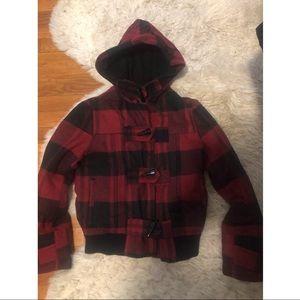 Red black plaid cropped jacket coat toggle S hood